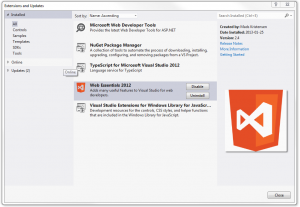 Visual Studio 2012 Extensions and Updates dialog